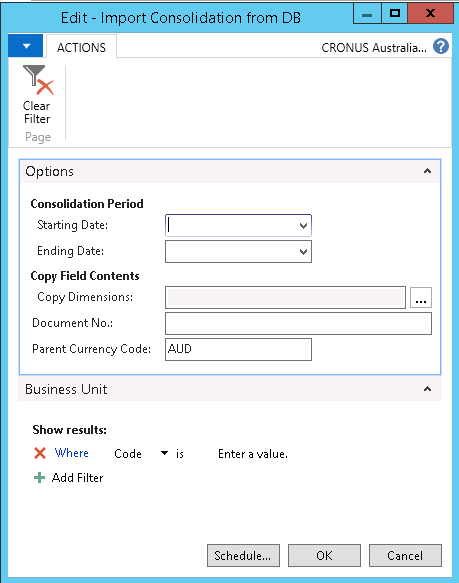 How to run consolidation in NAV2016 im5