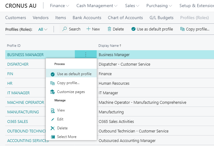 Customise profiles in Business Central